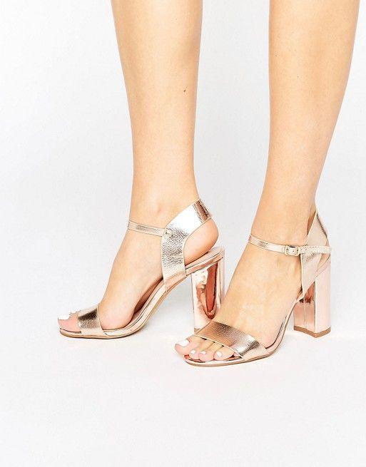 Gold block heel sandals, Sandals heels