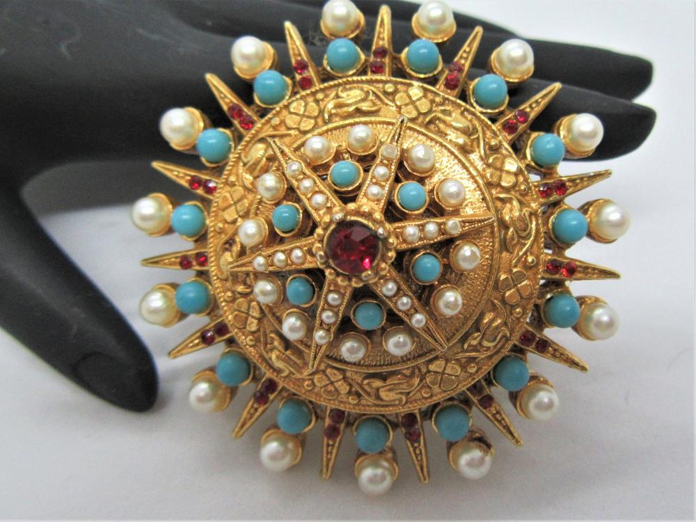 Vintage Brooch Blue Rhinestone Brooch Dome Style Brooch Vintage Jewelry Costume Jewelry Fashion Jewelry