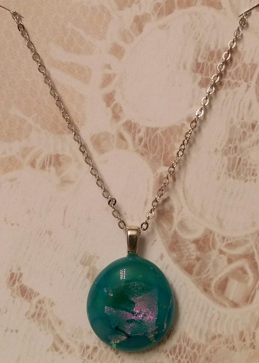 New Listing.......Carribean Sand.....Dichroic Fused Glass Necklace.....Handmade by DICHROICCLASSYGLASS on Etsy