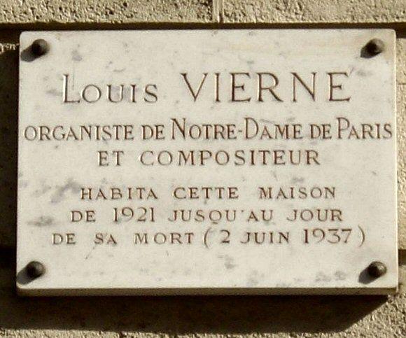 Plaque Louis Vierne Rue Saint Ferdinand Paris 75017 Rue De