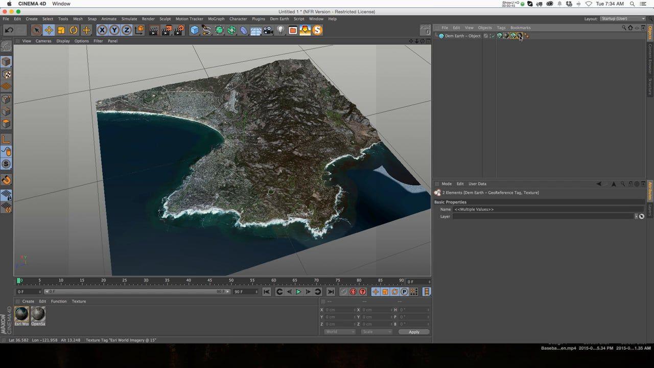 DEM Earth 2 0 C4D Plugin Tutorial | 3D | Cinema 4d tutorial
