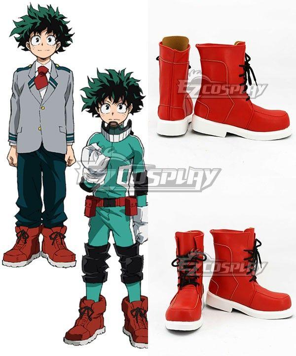 My Hero Academia Boku no Hero Akademia Izuku Midoriya Deku Red Cosplay Shoes 58bd50f65741