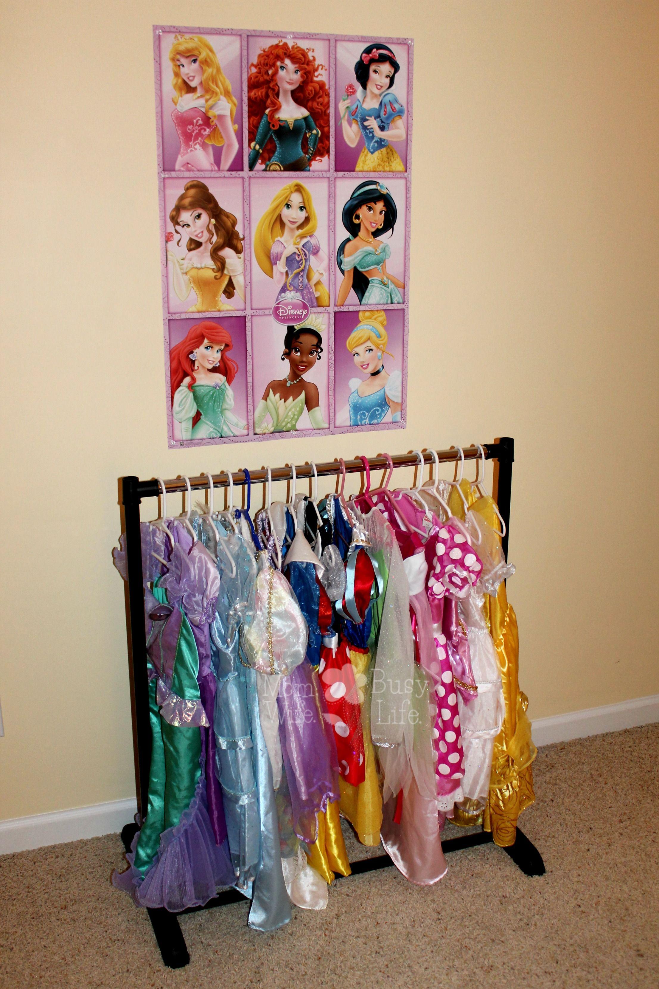 easy and affordable princess dress hanging rack maddy kids bedroom kids dress up girls bedroom. Black Bedroom Furniture Sets. Home Design Ideas