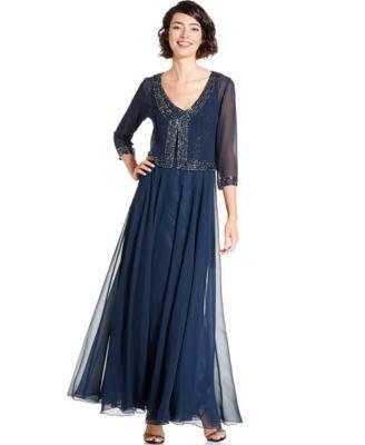 J Kara Embellished Trim Dress and Jacket