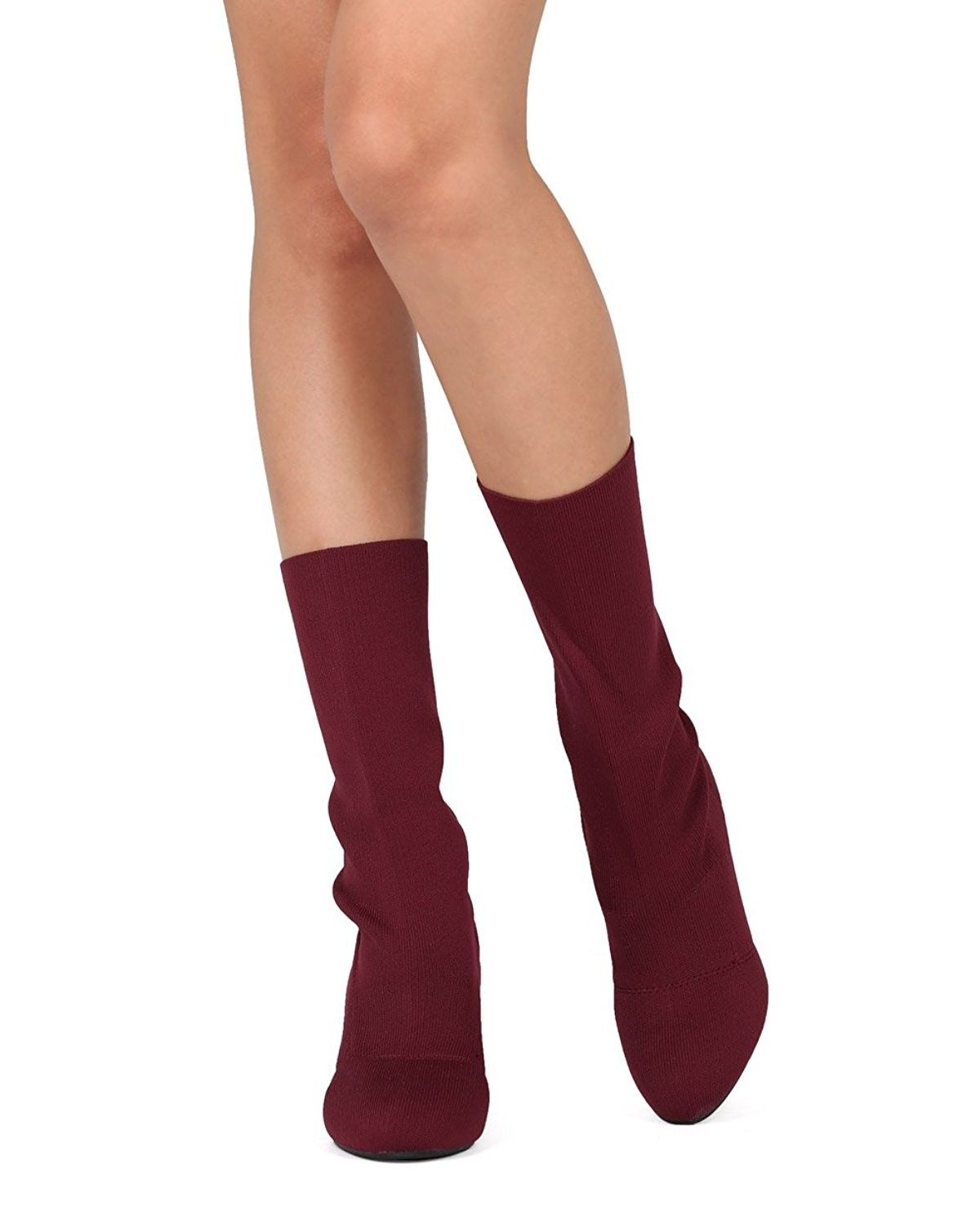 e697fc85ffc6 Women Mid Calf Block Heel Sock Boot - Knitted Chunky Heel Tall Boot -  Sophie-I - Wine Cotton - CT186Q33QW5 - Women s Shoes