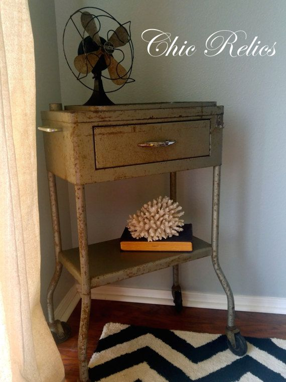 Vintage dental medical cart on wheels bathroom decor side table