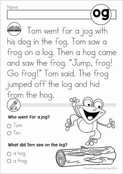 Word Family Reading Comprehension Passages | Kindergarten Obsessed ...