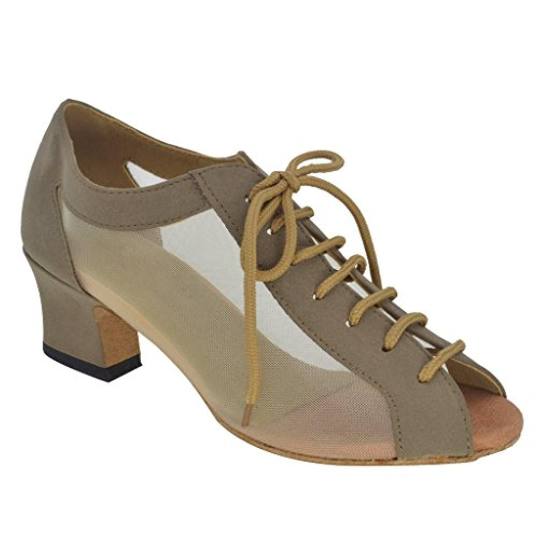 54f2c7bea79 Misu Women s Peep toe Sandals Latin Salsa Tango Practice Ballroom Dance  Shoes with 1.8