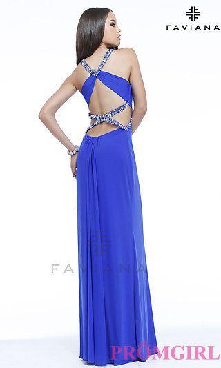 Long V-Neck Open Back Dress by Faviana at PromGirl.com