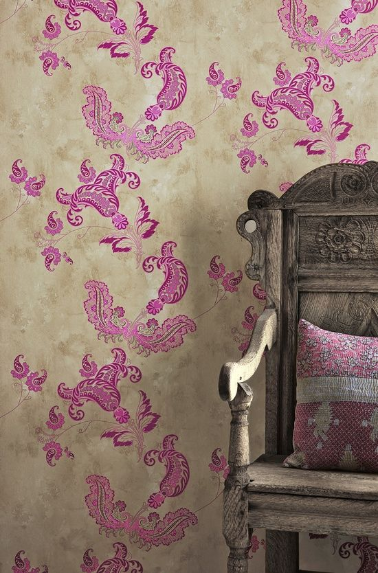 Purple designed wallpaper with antique chair best of for Purple wallpaper for walls