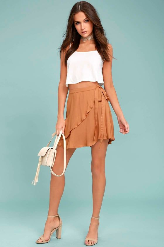 Cute Light Brown Wrap Skirt - Surplice Skirt - Skater Skirt Love this  outfit  CollectiveStyles.com ♥ Fashion  825653a39