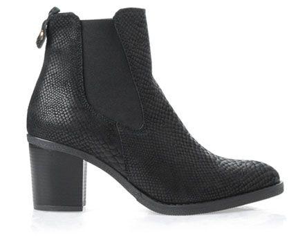 Czarne Botki Motocyklowe Wezowa Skora Chelsea Boots Boots Ankle Boot