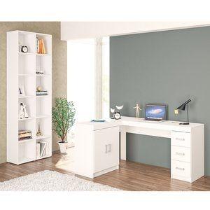 Conjunto para Escritório Escrivaninha e Estante Vergara Plus Siena Móveis Branco