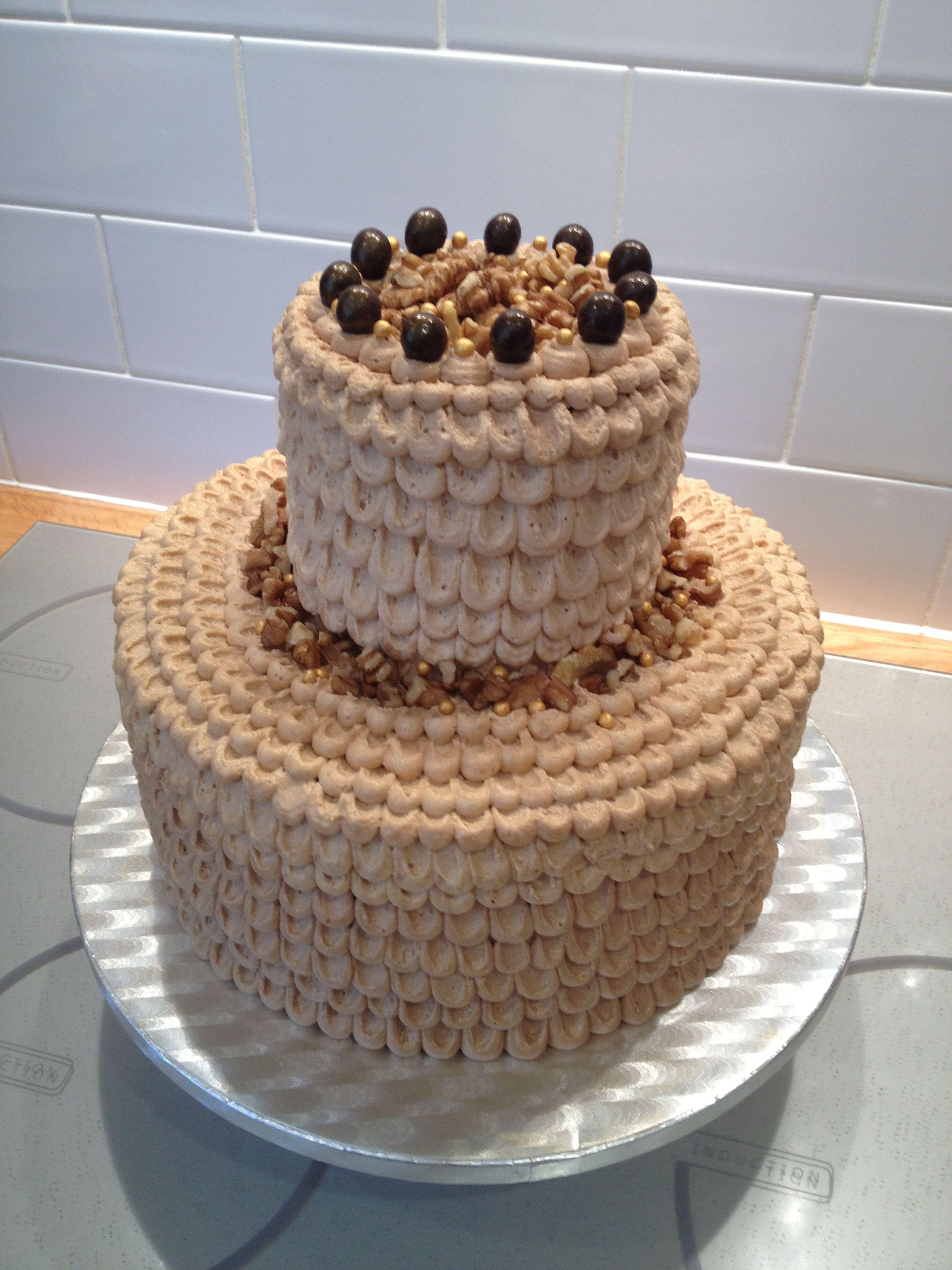 Coffee & Walnut Celebration Cake for DadinLaw's 75th