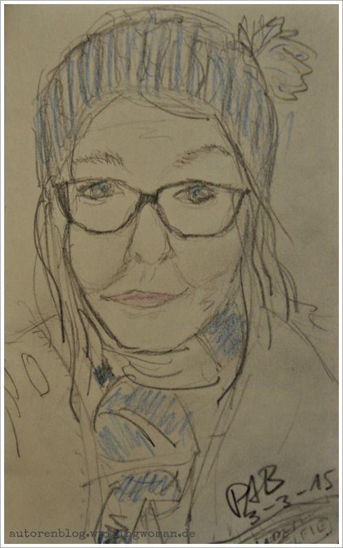 Skizzenselfie. Petra A. Bauer 2015http://autorenblog.writingwoman.de/index.php/blog/blogging/kunstsalon-am-dienstag-bei-susanne-haun
