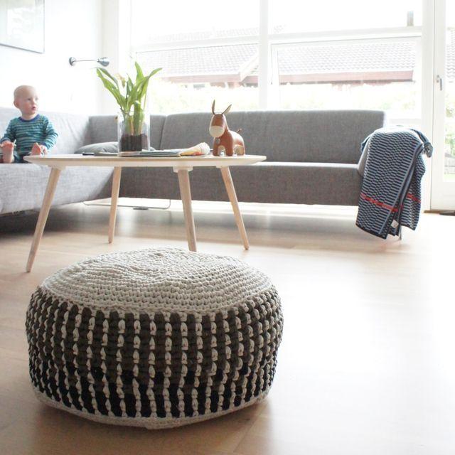 Opskrift på hæklet puf pattern for crochet pouf