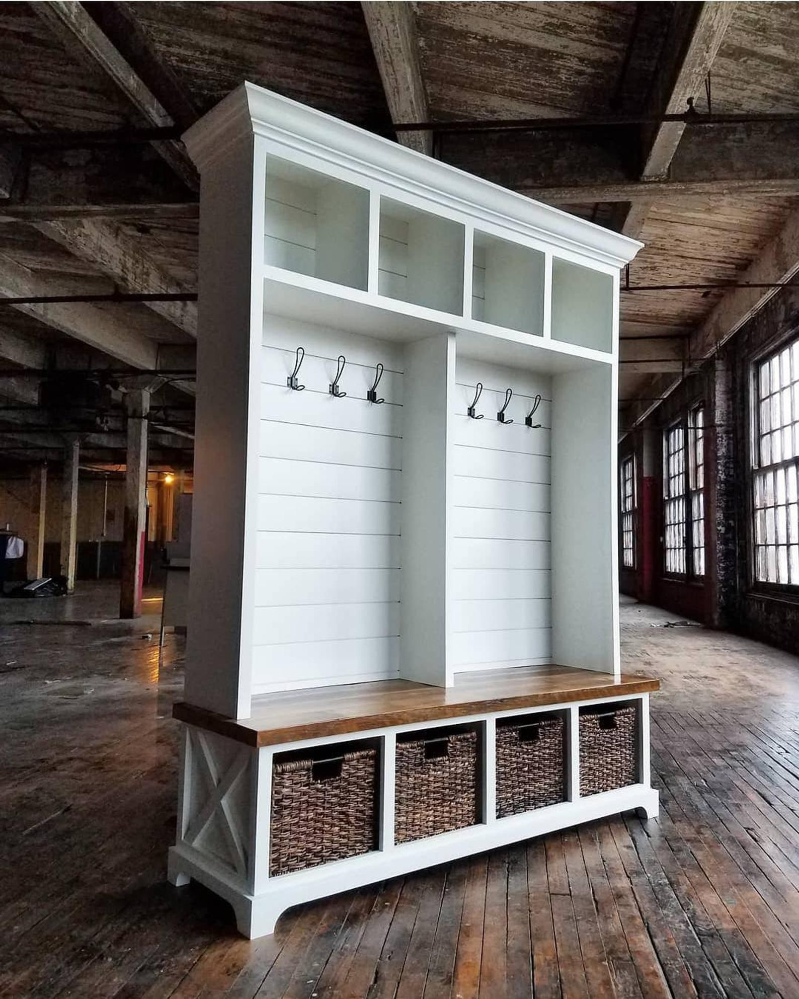 The Memphis Mudroom Lockers Bench Storage Farmhouse Furniture Cubbies Coat Rack Hall Tree Reclaimed Rustic Farmhouse With Images Mudroom Lockers Farmhouse Furniture Mudroom Furniture