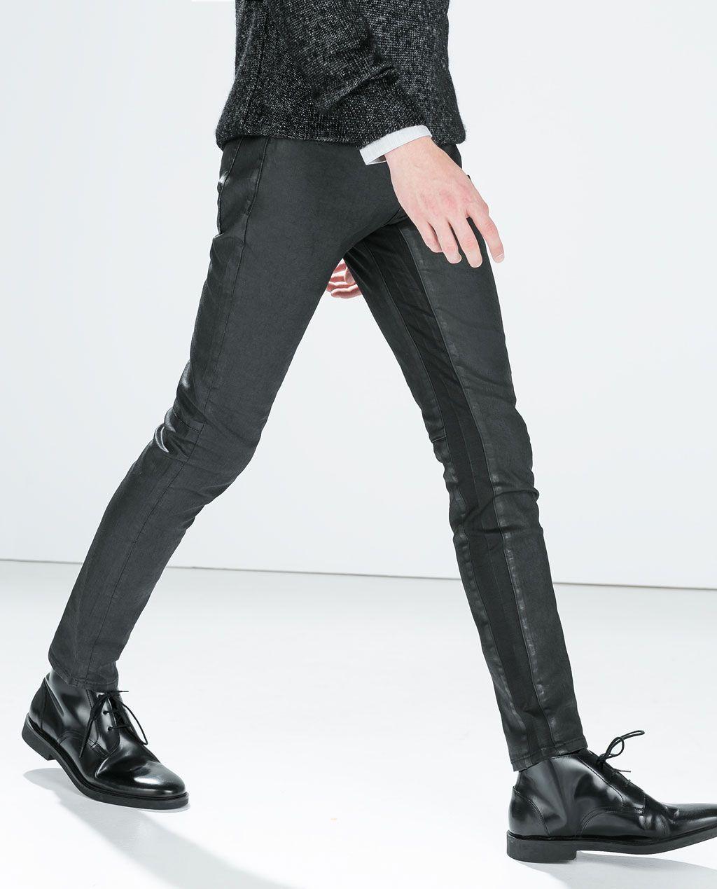 Imagen Negro Pantalón De Zara 3 Coated Piezas Punto rcS8rpWq