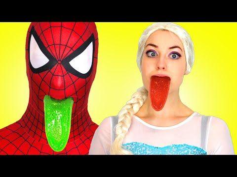 Spiderman Frozen Elsa Vs Evil Queen Elsa Gets A Gummy Joker Tongue Superhero Fun In Real Life Spiderman And Frozen Spiderman Evil Queen