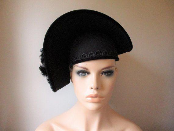 cb9fa69711d2f Black Church Hat Vintage 1980s Deborah New York Deadstock Feathers Faux  Pearls Wool Felt Velvet Black