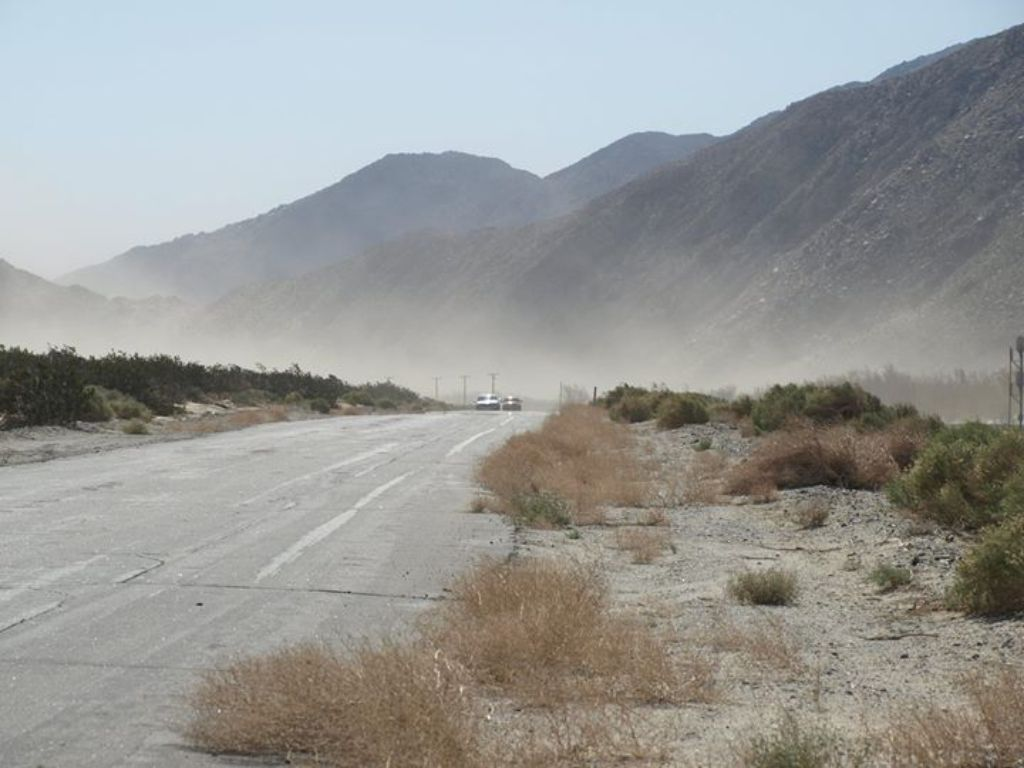 Sand blowing on Hwy 111 going into Palm Springs at Windy