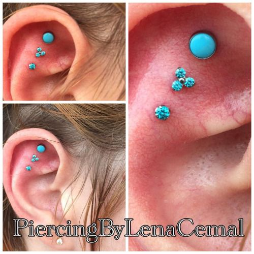 5f31cb7ce Triple Flat (Helix) piercings done by Lena Cemal of Tattoo Charlies. Jewelry  by NeoMetal.