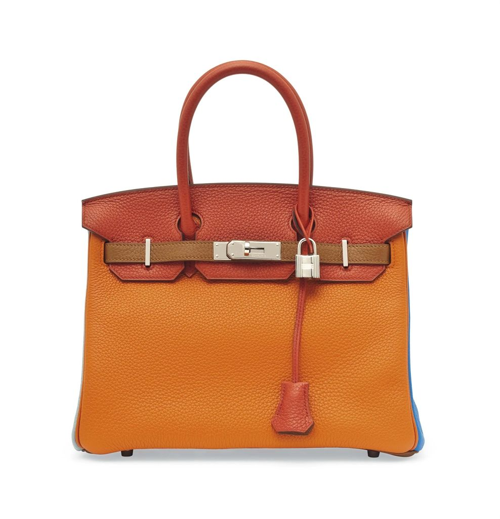 a342680a633 A limted edition orange, sanguine, blue lin, bleu hydra, etain and gold  taurillon clemence leather arlequin Hermes birkin bag