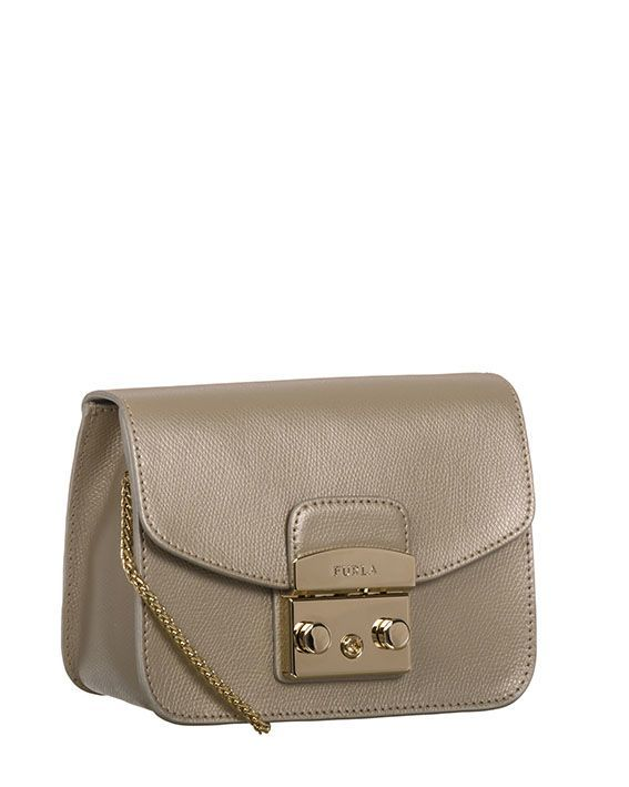 Metropolis Mini Crossbody Bag in Gold Saffiano Leather Furla V9YOC