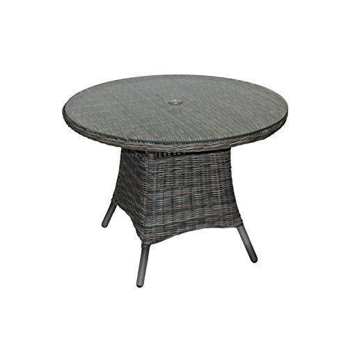 Regent Rattan Round Table - 1 Meter Diameter Garden Table - Glass Topped Round Outdoor Table