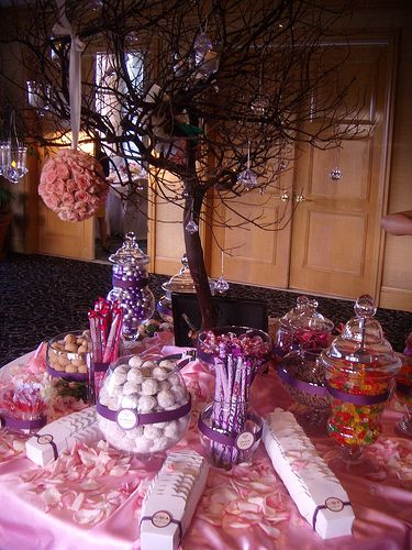 Admirable Candy Buffet Centerpiece Eggplant With Paper Peonies To Home Interior And Landscaping Eliaenasavecom