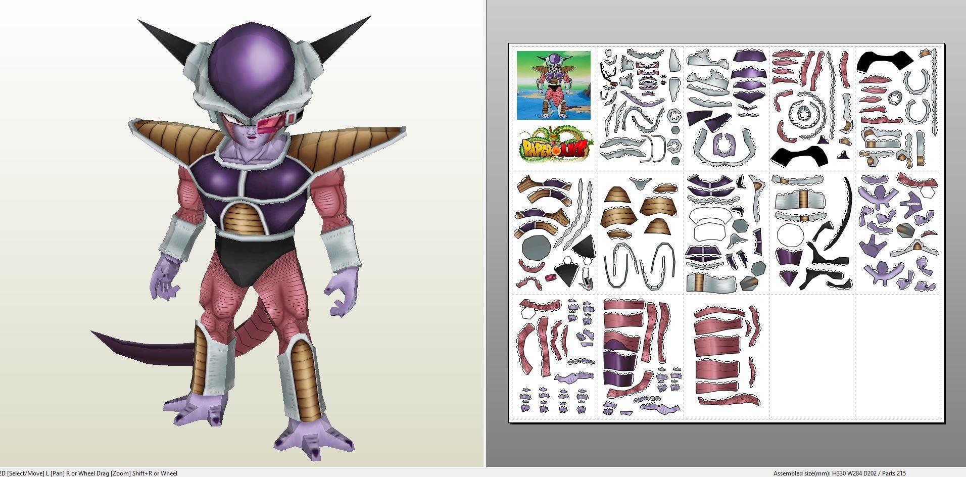 Papercraft Pdo File Template For Dragonball Z Freezer Hd