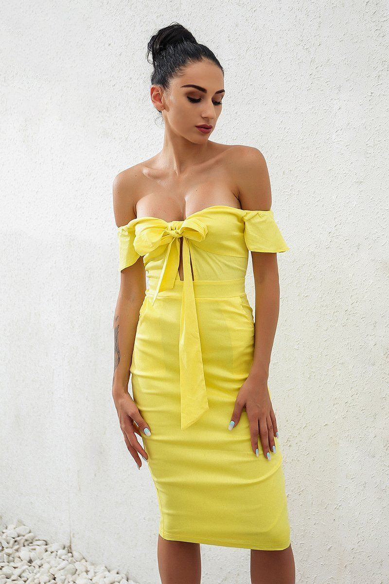 28acc5632fc Product Description  Buy Yellow Short Sleeve Bow Knot Womens Elegant Bodycon  Party Dress on Sale