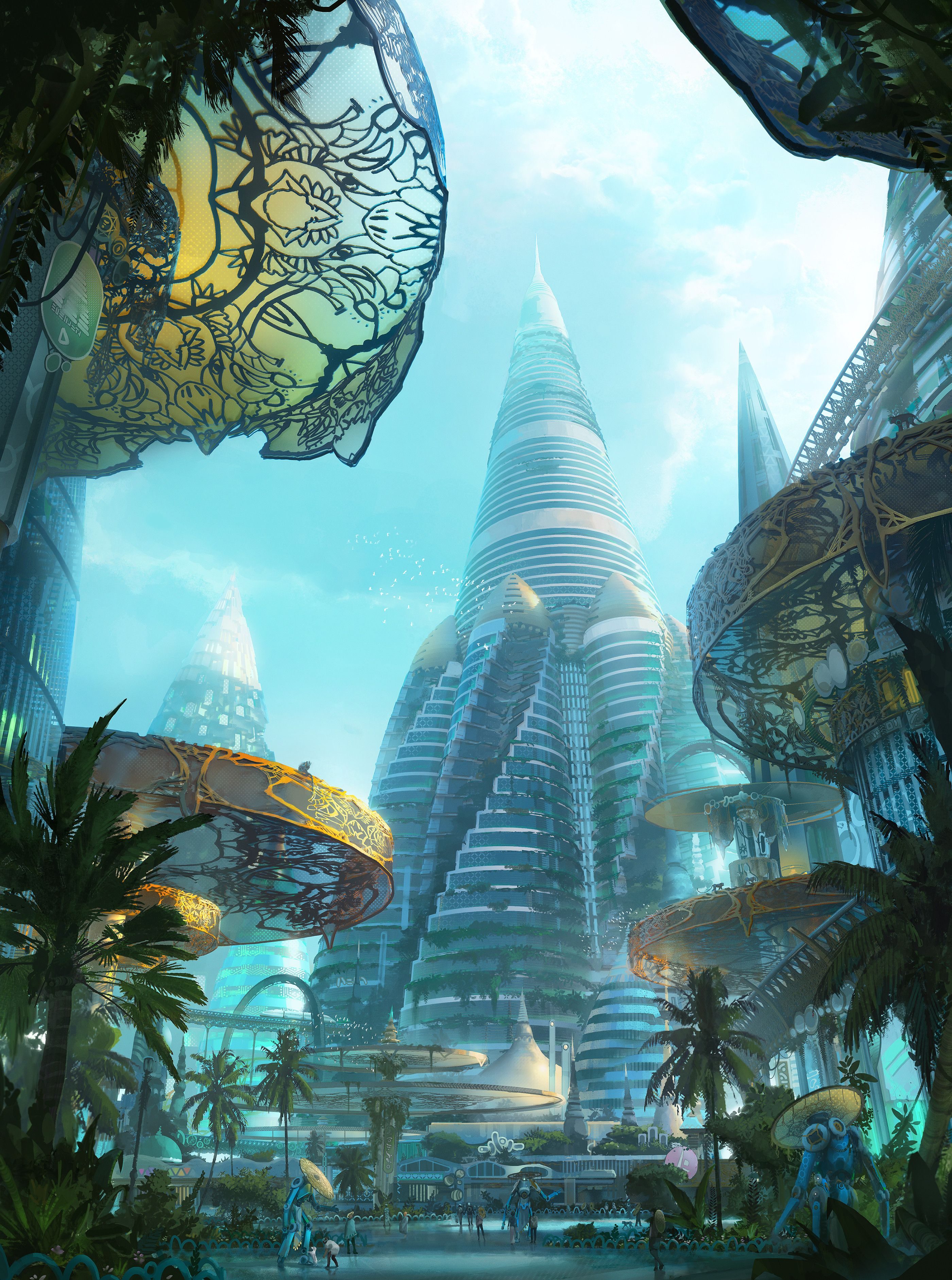 So Tropical That It Feels Like It S Under The Ocean In 2020 Fantasy Art Landscapes Futuristic City Fantasy City