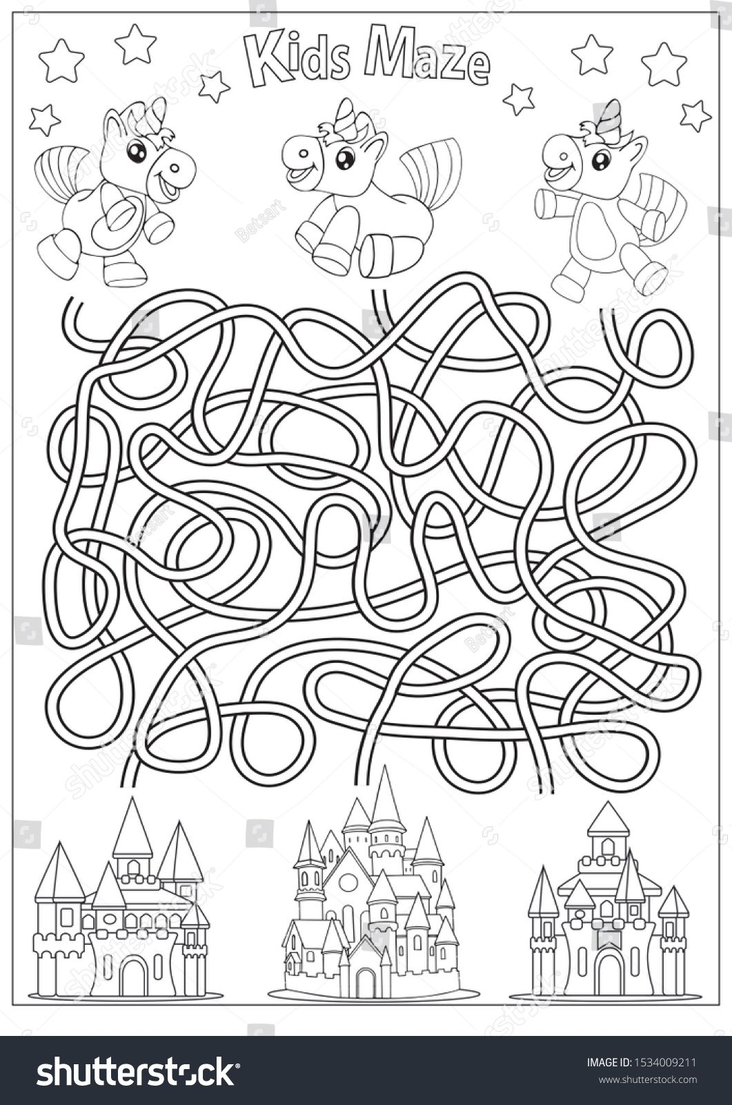 Kids Maze Coloring Page Children Labyrinth Kids Game With Cute Unicorns Activity Page Find The Right Path Funny Riddle Mazes For Kids Coloring Pages Kids