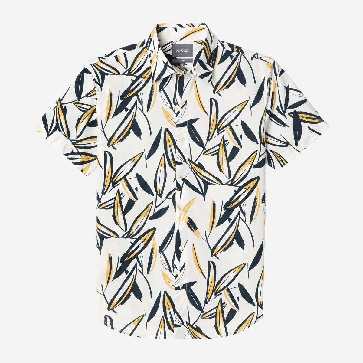 90d31d2bd13 Bonobos Riviera Short Sleeve Shirt (Yellow Leafy Arbor) - Standard Long Xxl