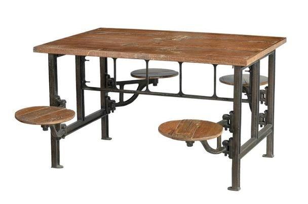 GroB Industrial Chic Tisch Mit Schwenkbaren Sitzen   Industrielle Möbel Bei  Möbelhaus Düsseldorf
