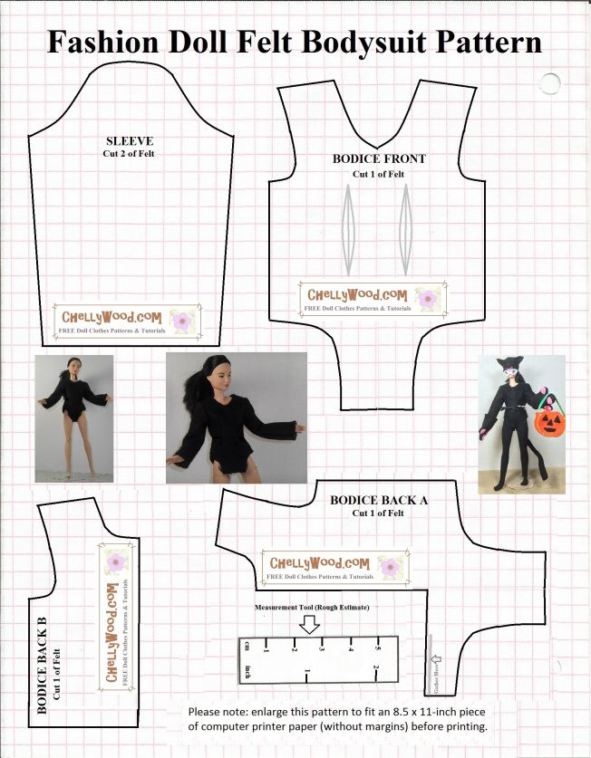 Image shows a pattern for a bodysuit or swimsuit to fit 115 inch - fit note