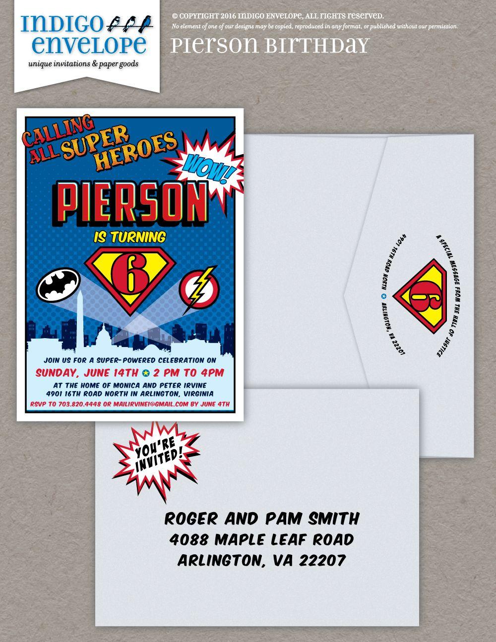 Superhero birthday party invitation | Design by Indigo Envelope ...