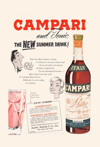 Lovely VINTAGE CAMPARI AD   Retro Barware Wall Art   Bar Poster, Kitsch Poster,  Kitsch