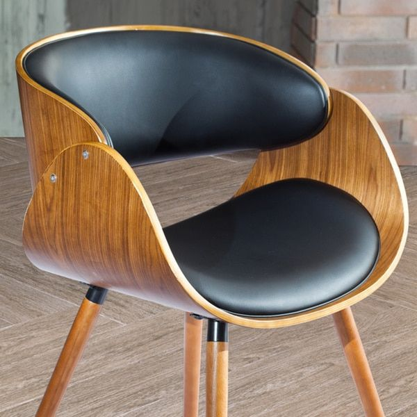 Corvus Walnut and Black Mid Century Bentwood Accent Chair at 140