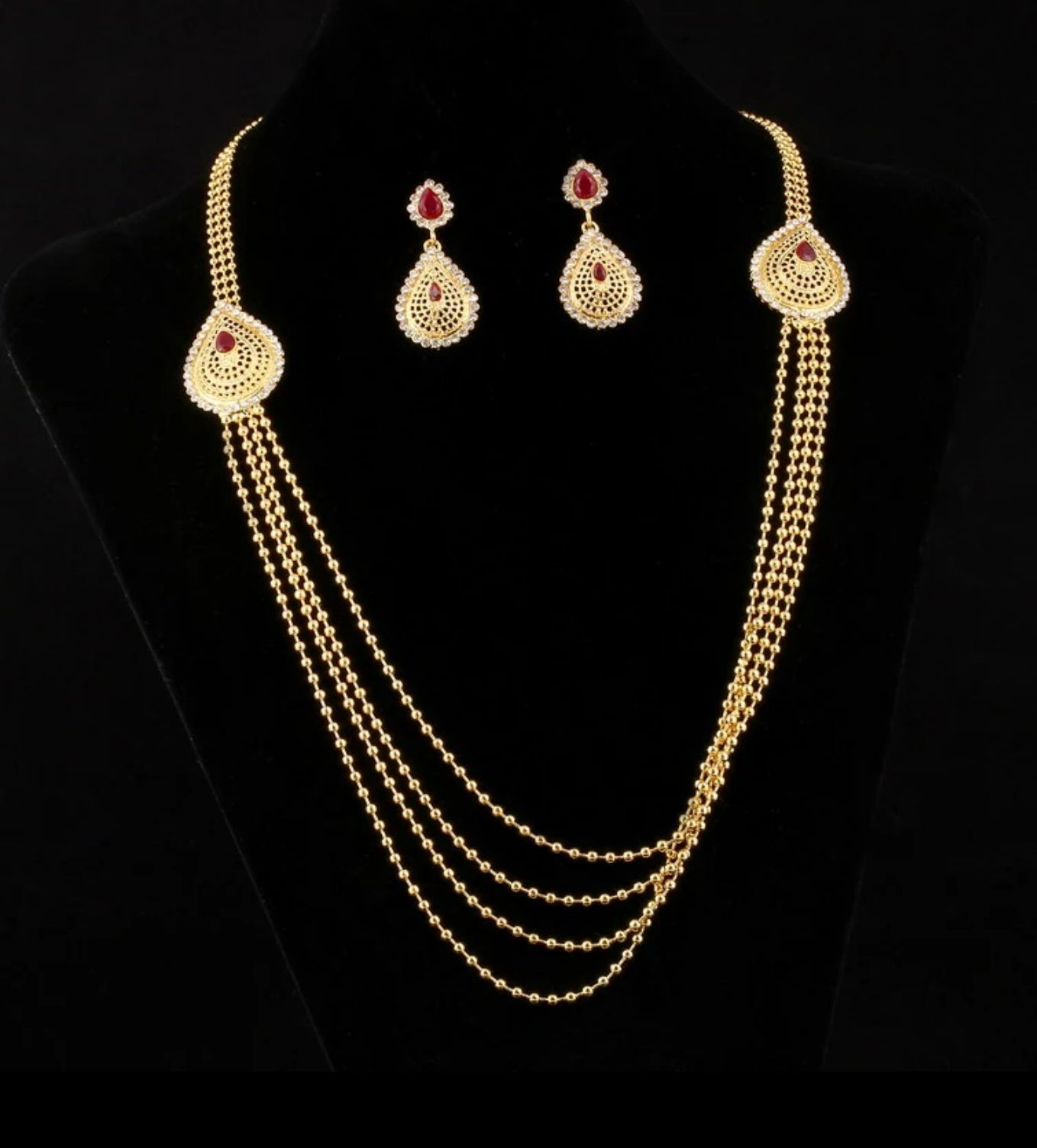 Vintage look indian tassel earrings maxi necklace for women white