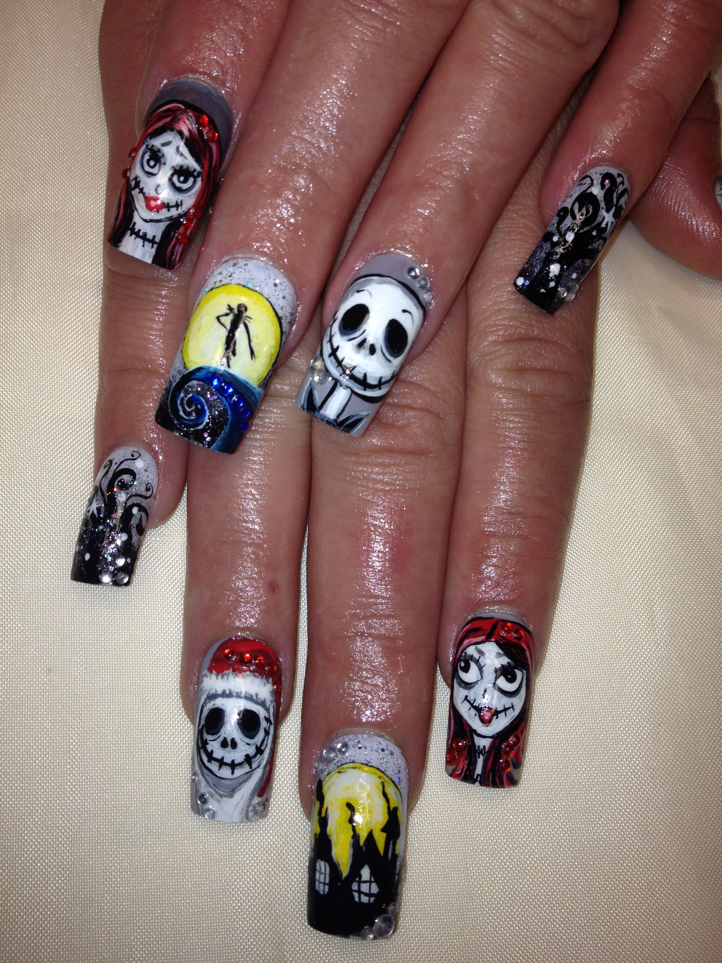 Day 353: Jack and Sally Nail Art | Holiday/Themed Nail Art ...