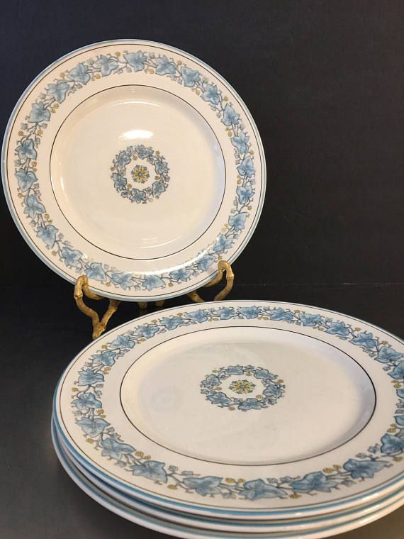 Vintage Myott China Dinner Plates Ivy Leaf Blue Staffordshire