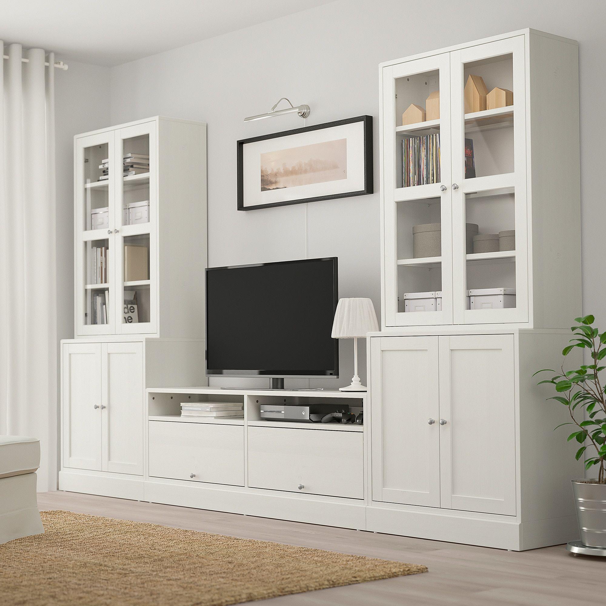 Havsta Tv Storage Combination Glass Doors White 126 3 4x18 1 2x83 1 2 Ikea Family Room Design Living Room Tv Wall Glass Cabinet Doors #white #living #room #shelf