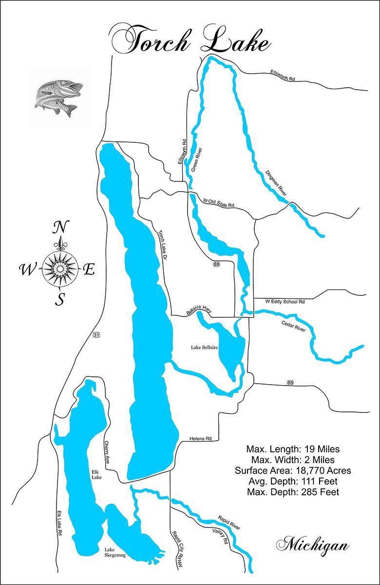 Torch Lake, Michigan - Wood Laser Cut Map | Torch Lake