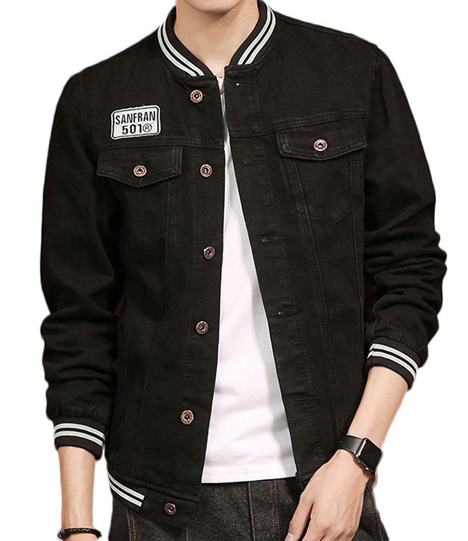 Men S Slim Fit Denim Bomber Jacket Black Lattermen Jacket Black C8187870r0t Stylish Shirts Men Men Clothes Shop Mens Outfits [ 1500 x 1299 Pixel ]