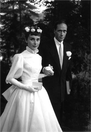 Audrey Hepburn and Mel Ferrer September 1954. Dress designed by Balmain