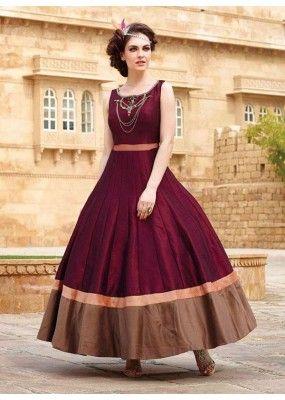 9fc1d978d2 Ready -Made Ethnic Wear Maroon Tapeta Silk Gown - Liza02 | lehanga ...