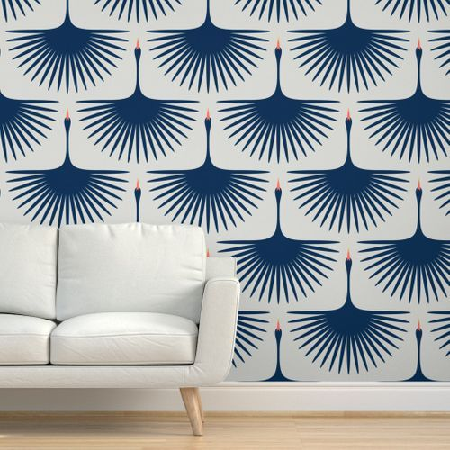 Colorful Fabrics Digitally Printed By Spoonflower Art Deco Swans Wallpaper Living Room Feature Wall Wallpaper Art Deco Wallpaper