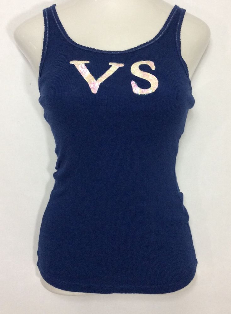 Womens VICTORIA'S SECRET Purple Tank Top / Cotton Stretch Sequenced Shirt  (M)